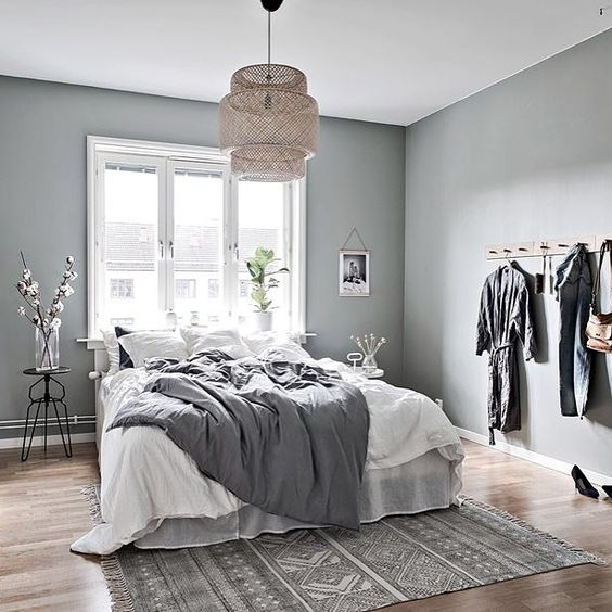 6 BEAUTIFUL GREEN-GRAY BEDROOMS YOU CAN RE-CREATE TODAY - Hey, Djangles. heydjangles.com -Scandinavian bedroom. Image: Instagram @madebyintro