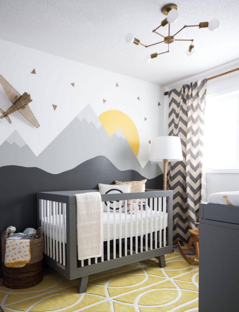 Gender-neutral baby nursery inspiration. 5 TOTALLY ACHIEVABLE GENDER-NEUTRAL BABY NURSERY LOOKS + HOW TO GET THEM - Find out how to re-create this beautiful gender-neutral nursery by Leclair Decor. So adorable! #babynursery #nurserydecor