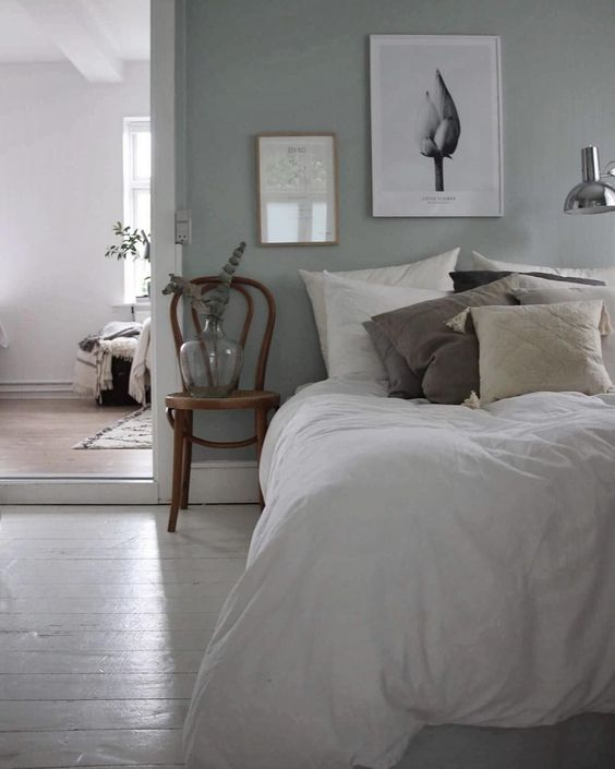 6 BEAUTIFUL GREEN-GRAY BEDROOMS YOU CAN RE-CREATE TODAY - Hey, Djangles. heydjangles.com - Scandinavian bedroom. Image: Instagram @emilie_schwartzlose