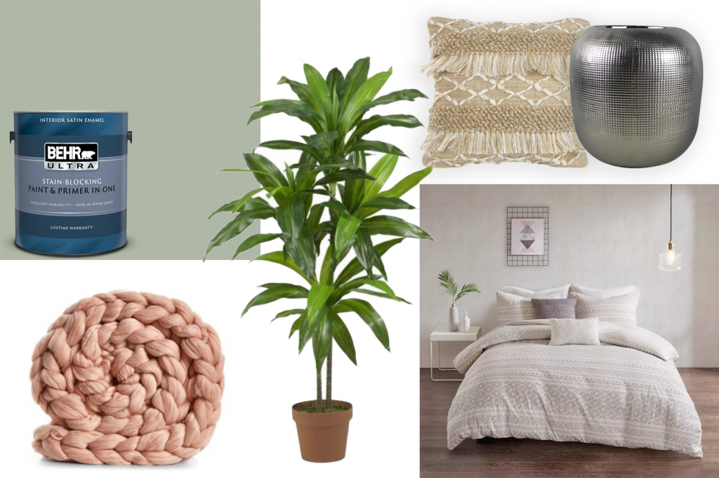 6+ Beautiful Green-Gray Bedrooms You Can Re-create Today - Bedroom #1