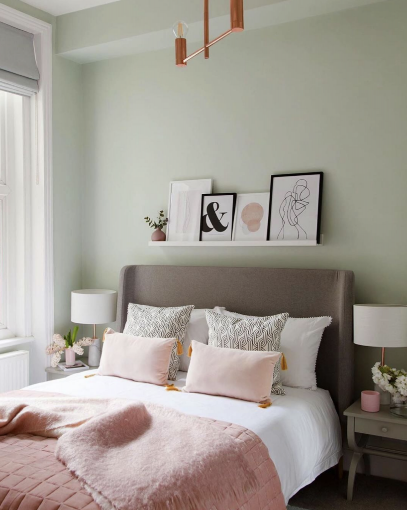 6+ Beautiful Green-Gray Bedrooms You Can Re-create Today - IMAGE via @rukminipatelinteriordesign on Instagram, Photography by @megantaylorphoto, feat. paint color 'Pale Powder' from Farrow and Ball.
