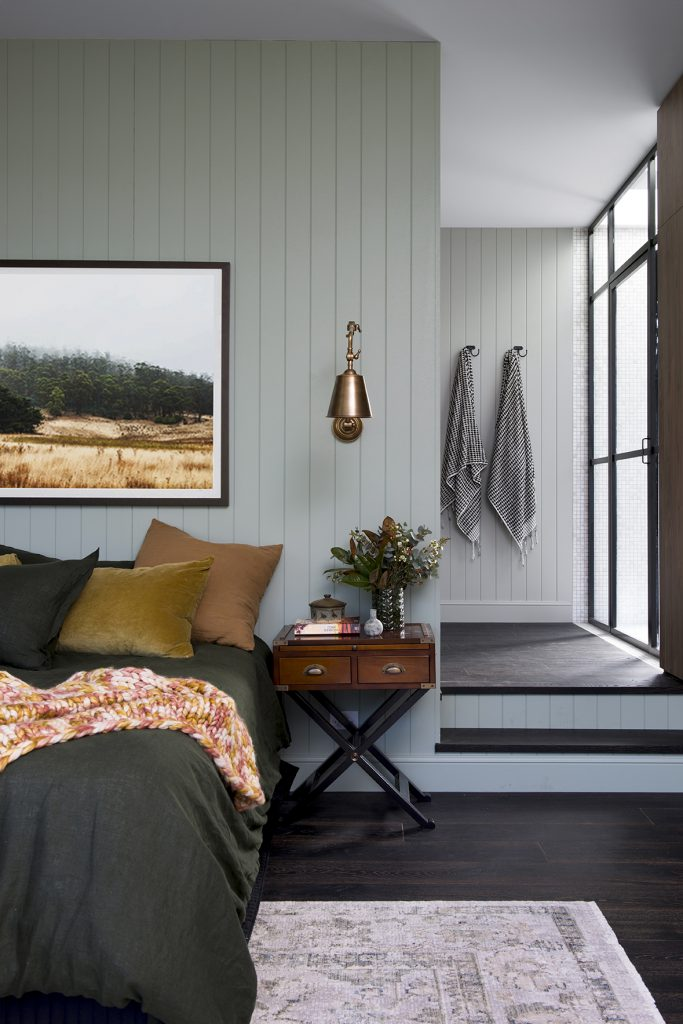 6+ Beautiful Green-Gray Bedrooms You Can Re-create Today - IMAGE via Cedar + Suede Home feat. paint color 'Mantle' by Resene.