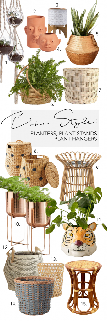 BOHO PLANT POTS, PLANT STANDS & PLANT HANGERS - 15 CHIC OPTIONS - Hey, Djangles. heydjangles.com - Bohemian plant pot inspiration, rattan and wicker plant pots, copper plant pot stands, macrame plant hangers and much more.