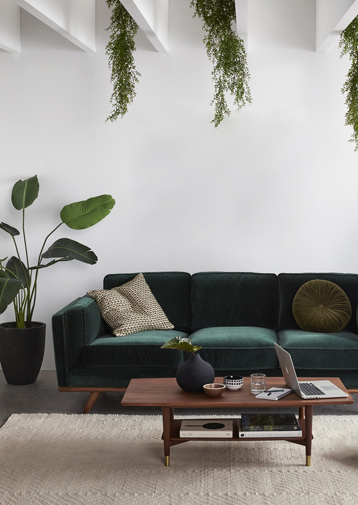 Green velvet sofa inspiration and product round-up. BOHO STYLE: THE GREEN VELVET SOFA - 6 STYLISH OPTIONS - heydjangles.com. Image via Freedom Furniture. Minimal boho living room, boho sofa, velvet sofa inspiration #bohochic #bohostyle