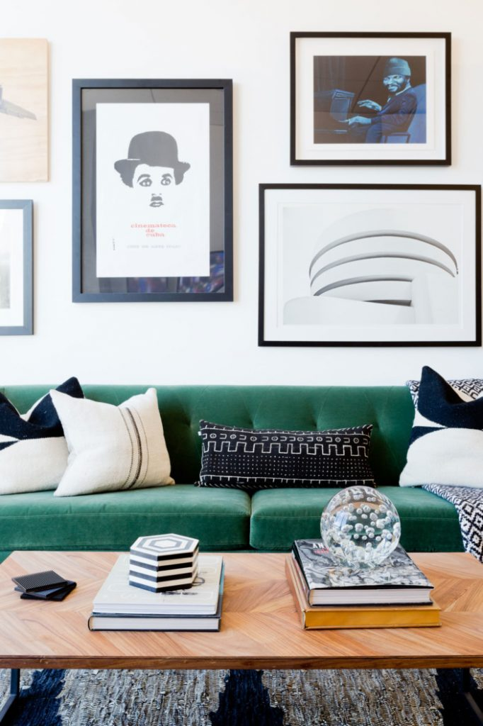 Green velvet sofa inspiration and product round-up. BOHO STYLE: THE GREEN VELVET SOFA - 6 STYLISH OPTIONS - heydjangles.com. Image via Home Polish, Photo: Amy Bartlam. Boho living room, boho sofa, velvet sofa inspiration #bohochic #bohostyle