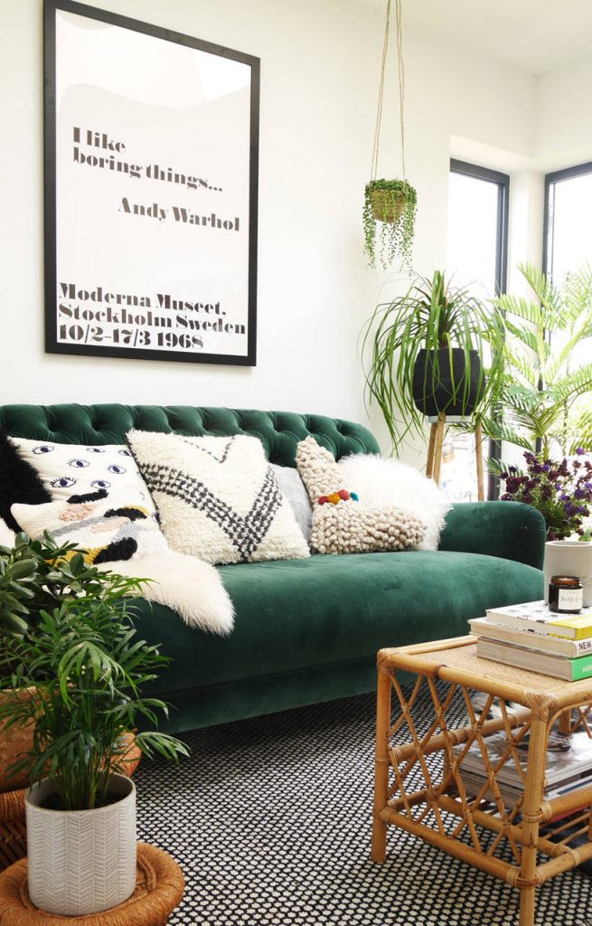 Green velvet sofa inspiration and product round-up. BOHO STYLE: THE GREEN VELVET SOFA - 6 STYLISH OPTIONS - heydjangles.com. Image via The Only Girl In The House. Boho living room, boho sofa, velvet sofa inspiration #bohochic #bohostyle