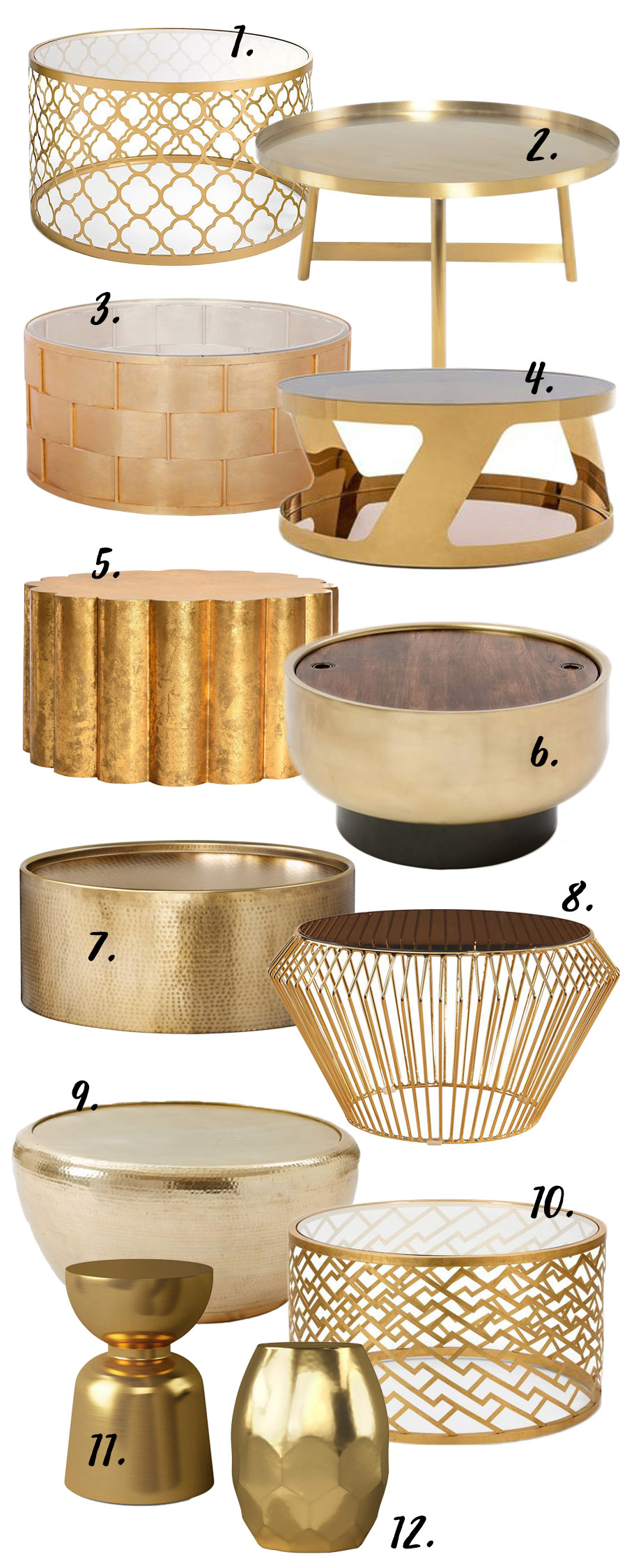 THE GOLD ROUND COFFEE TABLE - 12 STYLISH OPTIONS STARTING AT $63.99 - Hey, Djangles. heydjangles.com - round gold coffee table, coffee table gold, gold coffee table living room, gold and glass coffee table, gold glass coffee table, copper coffee table, round coffee table ideas, round coffee tables, coffee tables round, round coffee table decor ideas.