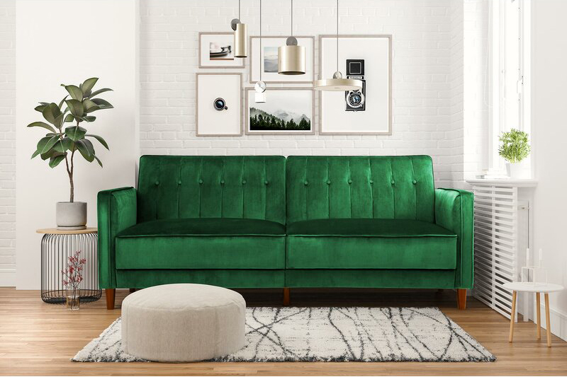 Image via All Modern feat. 'Wallace Convertible Sofa' in Green Velvet