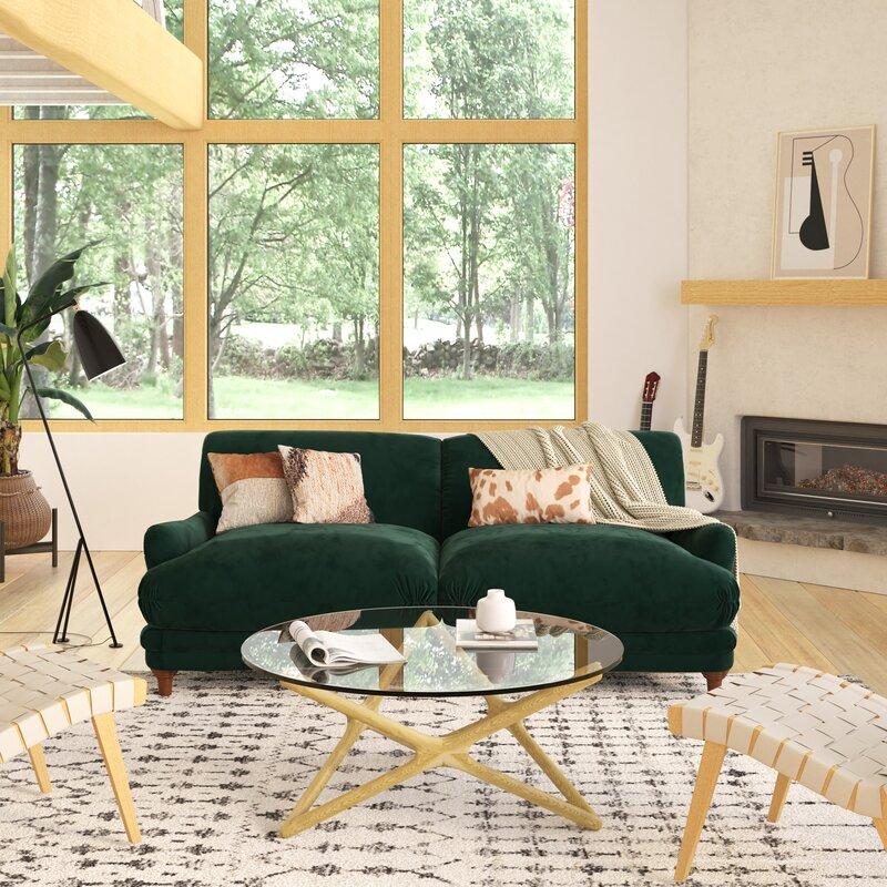 Image via Wayfair feat. 'Amaro Velvet Charles of London Sofa' in Emerald Green (by Rosdorf Park)