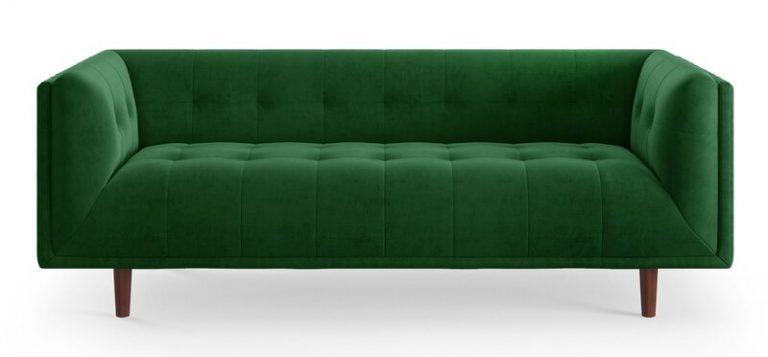 Image via Wayfair feat. 'Eva Sofa' in Emerald Velvet (by All Modern)