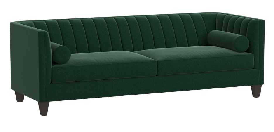 Image via Rejuvenation feat. 'Whidbey Sofa' in Distressed Velvet Forest