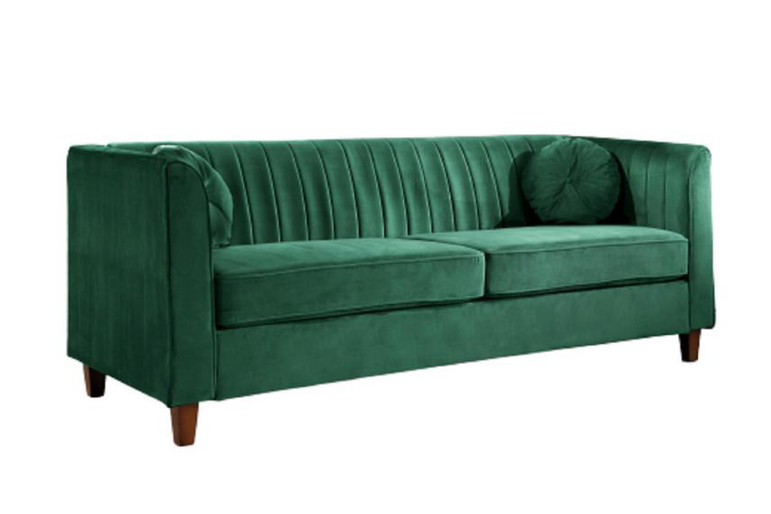 Image via Home Depot feat. 'Lowery 79.5 in. Green Velvet 3-Seater Tuxedo Sofa' in Green