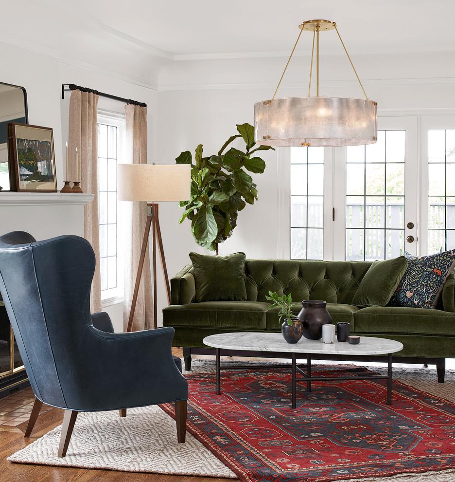 Image via Rejuvenation feat. 'Monrowe Sofa' in Vance Velvet Peridot Green