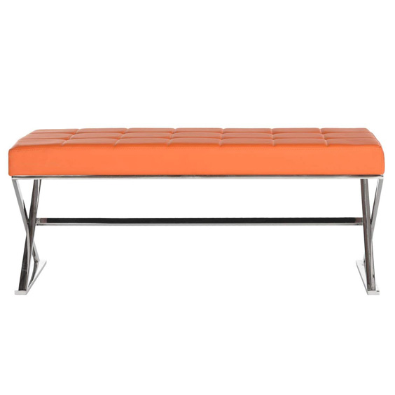 orange bench seat, moody blue bedroom