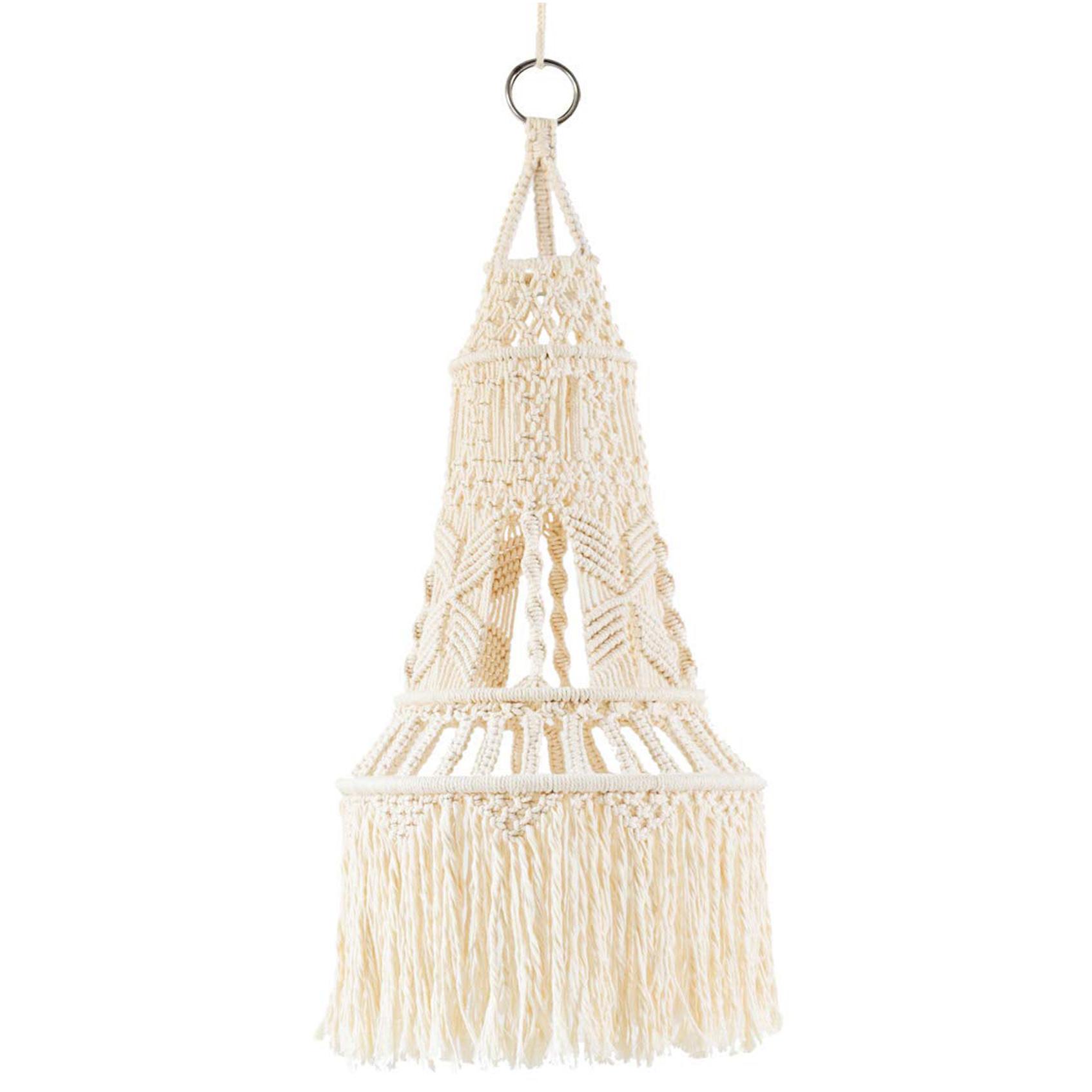 macrame chandelier light, boho-chic home decor