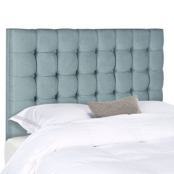 slate tufted headboard, moody blue bedroom