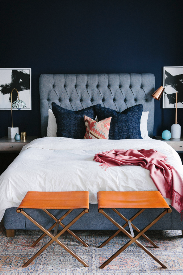 5 SWOON-WORTHY MOODY BLUE BEDROOMS YOU CAN RE-CREATE TODAY (and how-to!) - heydjangles.com - Moody blue bedroom design ideas and inspo + how to re-create the look at home, including this gorgeous design by Noz Design. #colorinspo #bedbedroom #bedroomideas