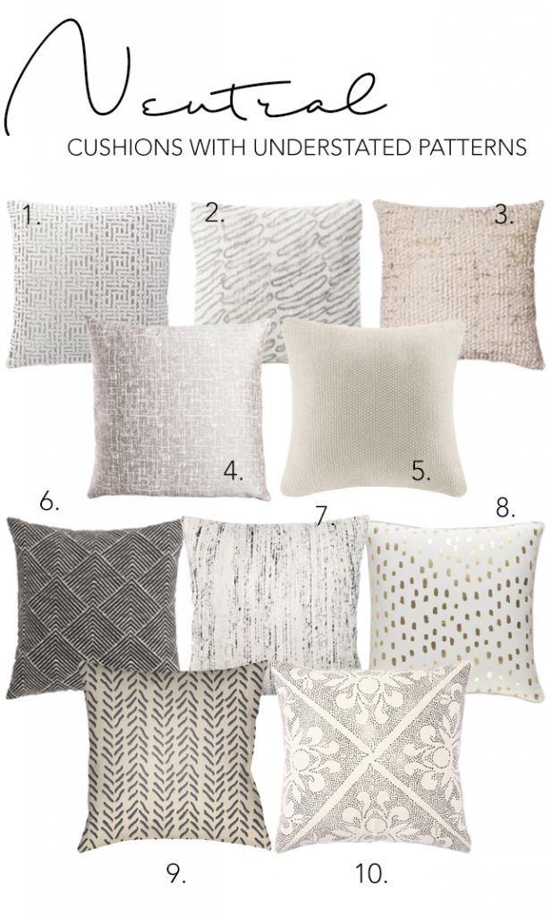 Step 5 - Add personality with understated patterns and artwork. 6 SIMPLE STEPS TO CREATE YOUR OWN SLEEK MODERN MINIMALIST LIVING ROOM - Hey, Djangles. Neutral patterned throw pillows, neutral cushion options, minimalist decor, understated patterns. heydjangles.com. #minimalistinspo #minimalism