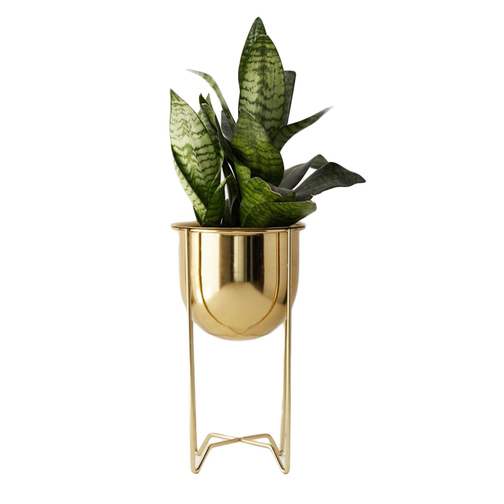 gold brass planter stand, boho-chic home decor