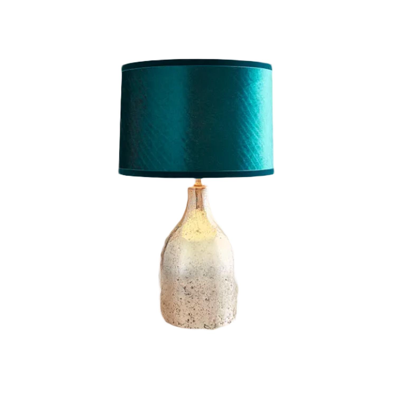 teal lamp, moody blue bedroom