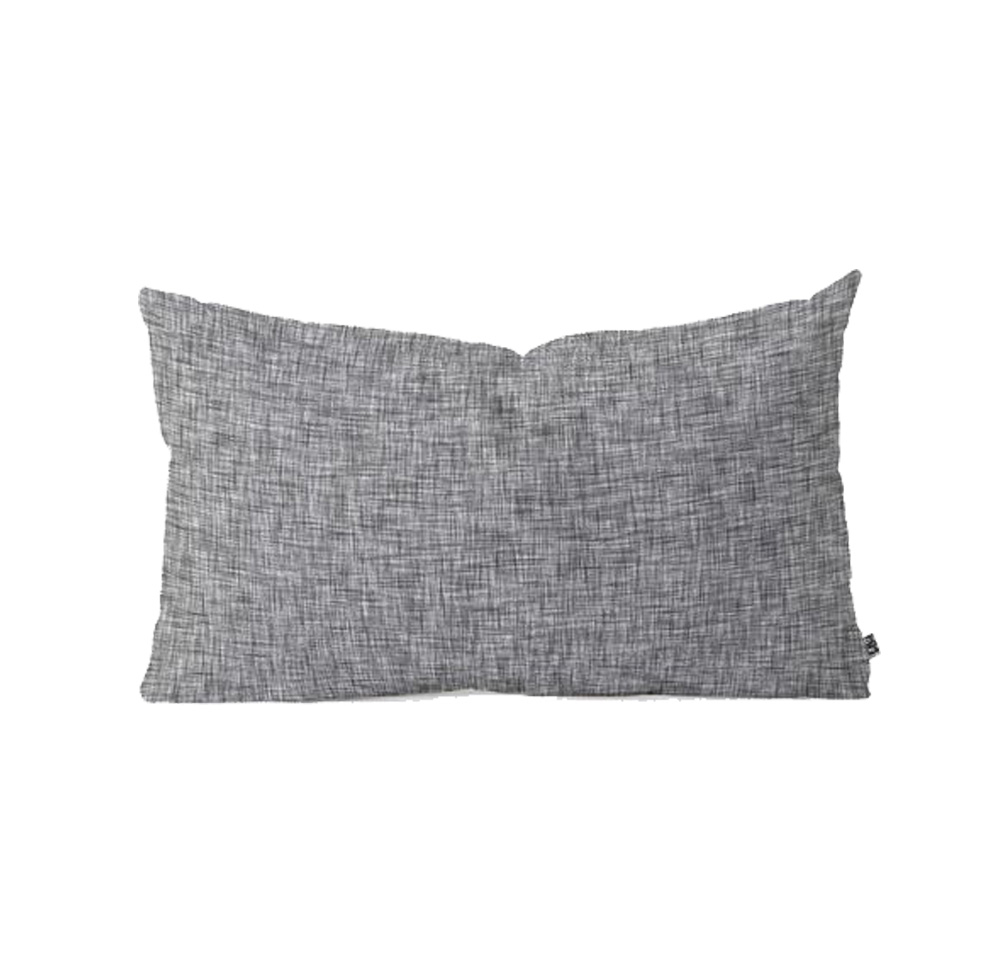 gray lumbar pillow, moody blue bedroom