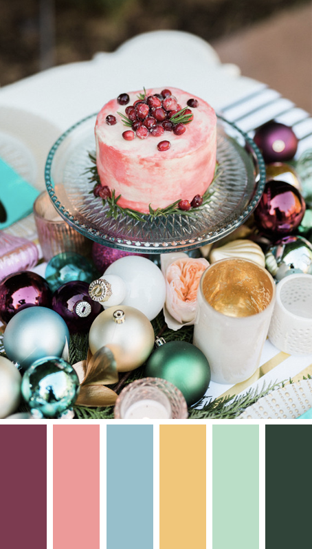 5 MODERN CHRISTMAS TABLE SETTING COLOR PALETTE IDEAS TO COPY THESE HOLIDAYS – heydjangles.com – Try something different with your table scape this Christmas! Festive fun in pastel and metallic in this cute and quirky table setting by Seven Stems (feat. by 100 Layer Cake). Christmas decorating ideas, Christmas table settings, Christmas color palettes, Christmas color scheme, pink cake, pastel baubles #christmasdecor #tablescape