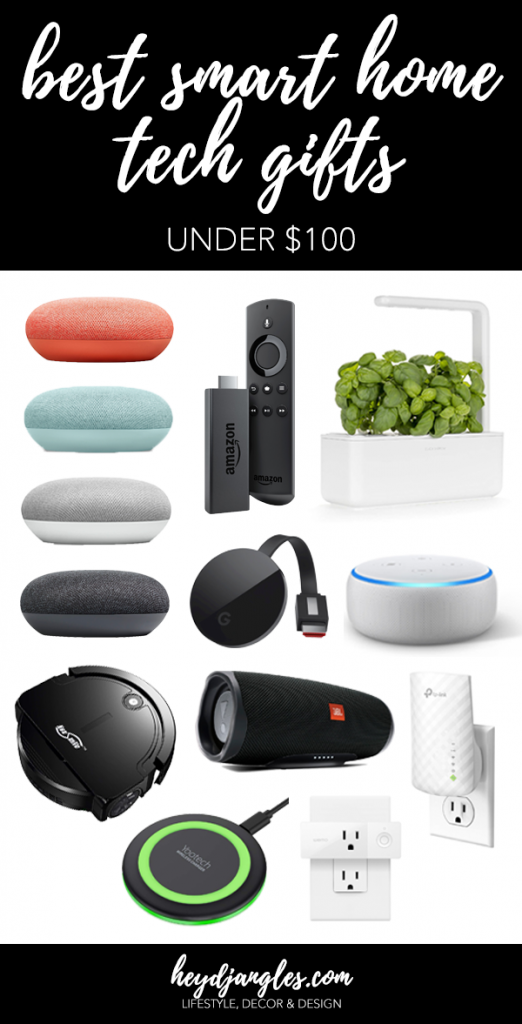 BEST SMART HOME TECH GIFTS UNDER $100 – heydjangles.com – Want to be the best smart home tech gift-giver in all the land? Well check out our smart home tech gift guide! Full of home tech gift ideas and inspiration - all gifts priced at $100 or less so you won't break the bank. Smart home technology, smart home devices, smart home gadgets, tech gift guide, Christmas gift ideas under $100 #smarthome #giftguide #techie