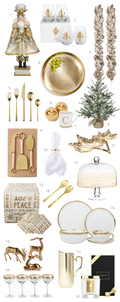 ROUND-UP: GOLD CHRISTMAS TABLE DECOR ACCENTS - heydjangles.com - Add a touch of glam to your table setting this Christmas with inspo from our festive gold table decor round-up! Restrained, elegant and simply stunning! Gold Christmas table decorations, gold Christmas table setting ideas, gold holiday table setting decor, Christmas table decorations in gold #christmasdecor #christmastablesetting