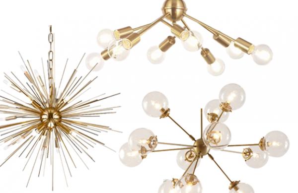 Round Up Gold Brass Mid Century Modern Chandelier Lighting