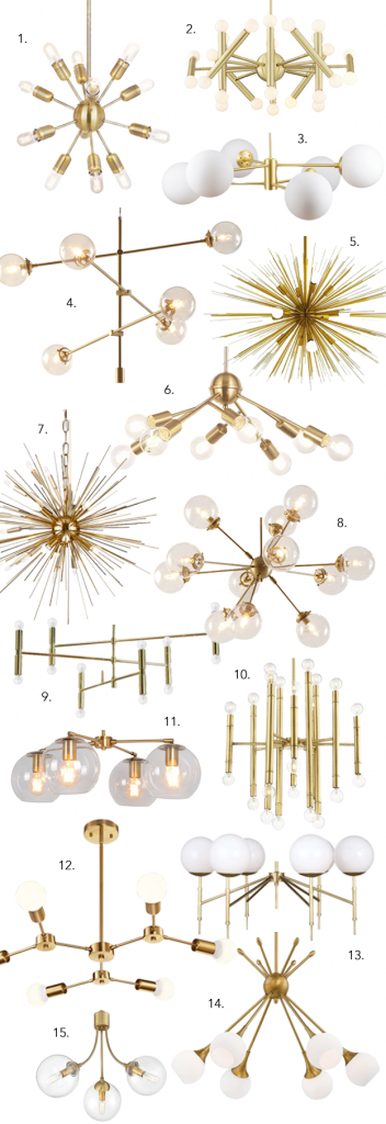 ROUND-UP: GOLD/BRASS MID-CENTURY MODERN CHANDELIER LIGHTING - heydjangles.com - 15 gorgeous options, from Sputnik chandeliers, bubble lights, branch lighting and more. Who doesn't love a good Mid-century modern statement chandelier?! So much drama! #midcenturymodern #statementlighting #drama