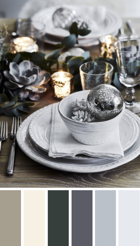5 MODERN CHRISTMAS TABLE SETTING COLOR PALETTE IDEAS TO COPY THESE HOLIDAYS – heydjangles.com – Try something different with your table scape this Christmas! Silver, gray, gold and green succulent Christmas table setting by Neptune. Christmas decorating ideas, Christmas table settings, Christmas color palettes, Christmas color scheme, echeveria #christmasdecor #tablescape