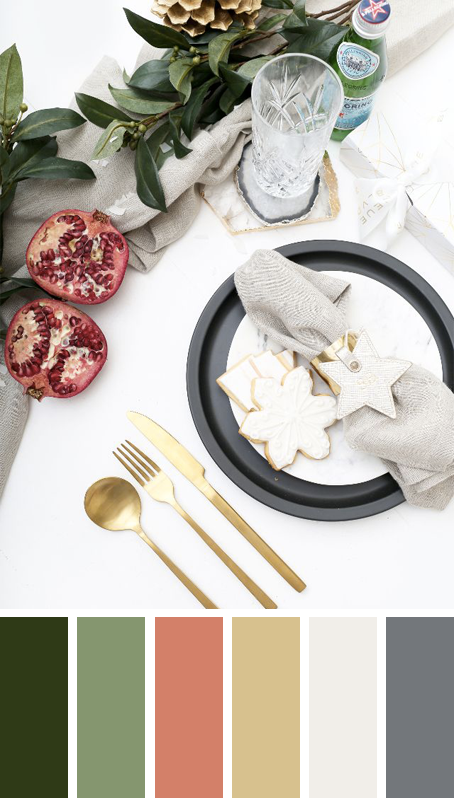5 MODERN CHRISTMAS TABLE SETTING COLOR PALETTE IDEAS TO COPY THESE HOLIDAYS – heydjangles.com – Try something different with your table scape this Christmas! Like modern metallics, natural elements, pomegranates and greenery in this Christmas table setting by Neue Blvd. Christmas decorating ideas, Christmas table settings, Christmas color palettes, Christmas color scheme, gold cutlery #christmasdecor #tablescape