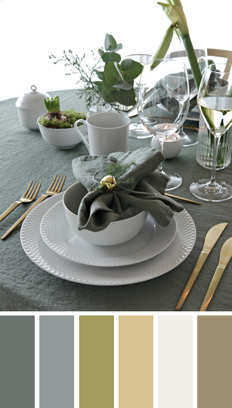 5 MODERN CHRISTMAS TABLE SETTING COLOR PALETTE IDEAS TO COPY THESE HOLIDAYS – heydjangles.com – Try something different with your table scape this Christmas! Muted greens, subtle golds and lots of plant-life like in this Nordic inspired Christmas table setting by Nina Holst. Christmas decorating ideas, Christmas table settings, Christmas color palettes, Christmas color scheme #christmasdecor #tablescape
