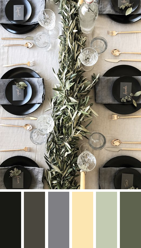 5 MODERN CHRISTMAS TABLE SETTING COLOR PALETTE IDEAS TO COPY THESE HOLIDAYS – heydjangles.com – Try something different with your table scape this Christmas! Bold black and glam gold in this gorgeous Christmas table setting by Amanda Dawbarn. Christmas decorating ideas, Christmas table settings, Christmas color palettes, Christmas color scheme, gold cutlery, black plates #christmasdecor #tablescape