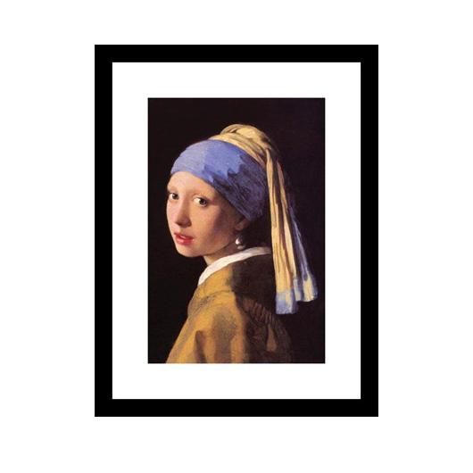 pearl earring art, moody blue bedroom