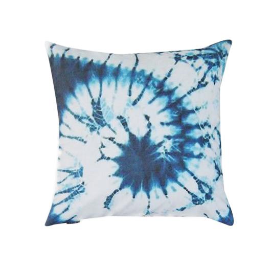 tie dye pillow, moody blue bedroom