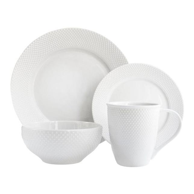 white embossed dinnerset