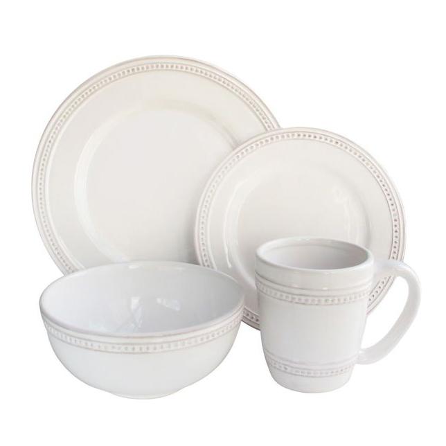 embossed white dinnerset