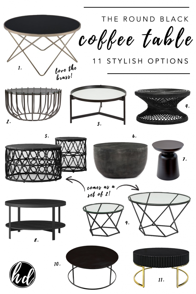 ROUND-UP: Black Round Coffee Tables - 11 Stylish Options – heydjangles.com – Sleek and sexy, bold yet soft, add contrast to otherwise neutral décor palettes with striking black accent pieces such as a black coffee table or side table. Black coffee table ideas, round coffee table inspiration, home décor ideas, rattan coffee tables, geometric coffee tables, drum coffee tables and more.