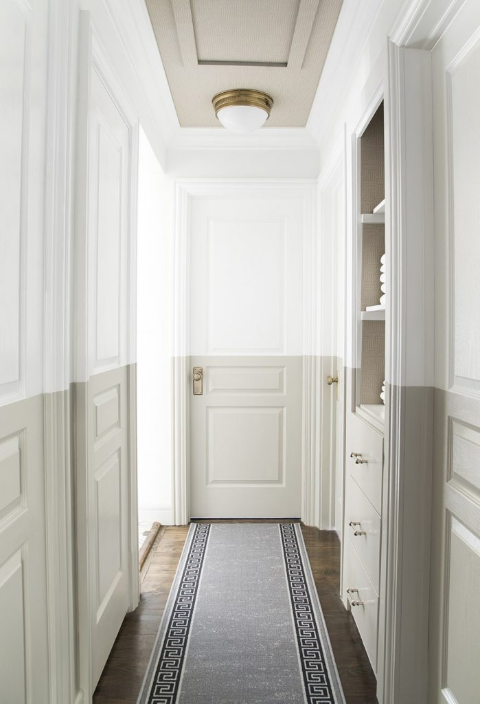 TREND: COLOR BLOCKED WALLS & DIPPED DECOR - heydjangles.com, gorgeous half-painted, color-blocked hallway by Room for Tuesday. For more color blocked wall ideas, check out our latest post. Image: Room for Tuesday.