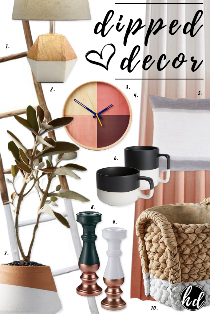 TREND: COLOR BLOCKED WALLS & DIPPED DECOR - heydjangles.com, gorgeous dipped decor homeware finds, dip-dyed decor, color blocked decor.