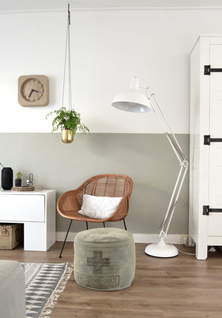 TREND: COLOR BLOCKED WALLS & DIPPED DECOR - heydjangles.com, Scandinavian inspired living room with sage green/gray & white color-blocked, half-painted walls. For more color blocked wall ideas, check out our latest post. Image: From Pillar to Post.
