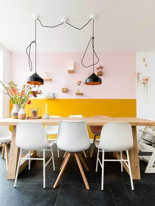 TREND: COLOR BLOCKED WALLS & DIPPED DECOR - heydjangles.com, Bright and bold color-blocked dining area, yellow and pink feature wall with dip-dye table decor. For more color blocked wall ideas, check out our latest post. Image: Casa Vogue.