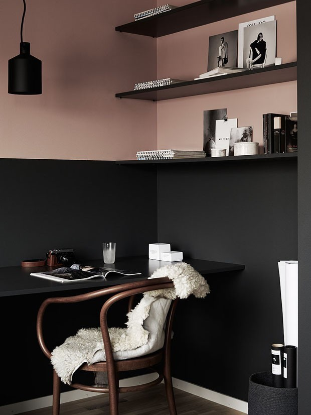 TREND: COLOR BLOCKED WALLS & DIPPED DECOR - heydjangles.com, beautiful Scandinavian pink & black home office, color-blocked walls. For more color blocked wall ideas, check out our latest post. Image: Casa Vogue.