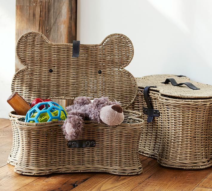 Image via Pottery Barn feat. Hand-woven Rattan Dog Toy Storage Basket