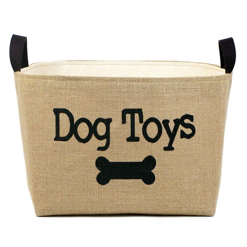 Burlap Dog Toy Storage Bin via Wayfair