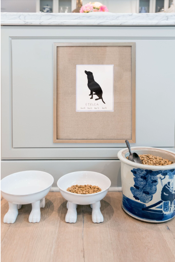 NON-NEGOTIABLE DOG ROOM DECOR ESSENTIALS – heydjangles.com – From bowls, beds, toys and tech, to pet gates, crates, dog doors and more. Check out our dog room decor wrap-up for all the best dog room decorating ideas and inspiration. Porcelain dog bowls with feet, dog food storage. Photo credit: Gray Malin Lifestyle.