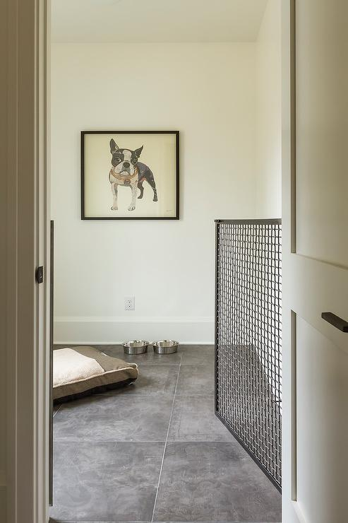 NON-NEGOTIABLE DOG ROOM DECOR ESSENTIALS – heydjangles.com – From dog bowls, pet beds, toys and tech, to pet gates, crates, dog doors and more. Check out our dog room decor wrap-up for all the best dog room decorating ideas and inspiration. Built-in pet gate. Photo credit: w.b. builder's, Seth Hannula.