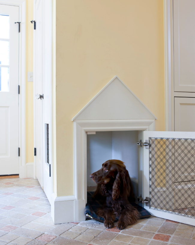 NON-NEGOTIABLE DOG ROOM DECOR ESSENTIALS – heydjangles.com – From dog bowls, pet beds, toys and tech, to pet gates, crates, dog doors and more. Check out our dog room decor wrap-up for all the best dog room decorating ideas and inspiration. Built-in dog kennel in wall/cupboard, built-in dog crate, chocolate Cocker Spaniel. Photo credit: LDa Architecture & Interiors via Houzz.