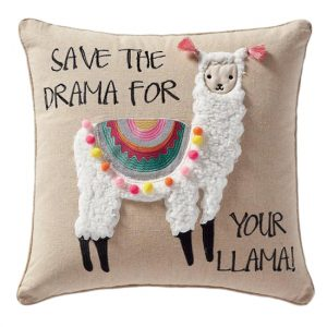 llama cushion, llama themed home decor